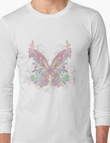 Colorful Ornately Designed Butterfly Graphic with flourishes T-Shirt