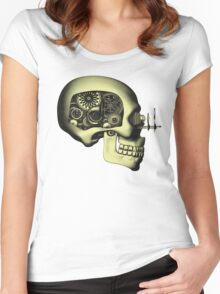 Vintage Steampunk Automaton Skull #1 Women's Fitted Scoop T-Shirt