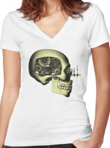 Vintage Steampunk Automaton Skull #1 Women's Fitted V-Neck T-Shirt