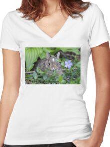 Baby Rabbit Women's Fitted V-Neck T-Shirt