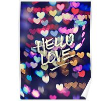 Hello Love Colorful Valentine Vintage Bokeh Heart Lights  Poster
