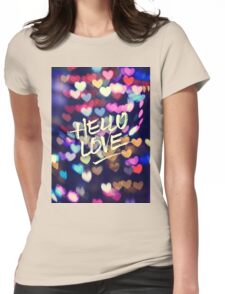Hello Love Colorful Valentine Vintage Bokeh Heart Lights  Womens Fitted T-Shirt