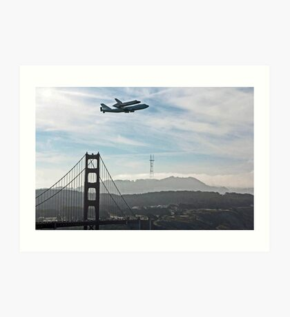 SPACE SHUTTLE TO FLY OVER THE GOLDEN GATE BRIDGE Art Print