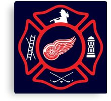 Detroit Fire - Red Wings style Canvas Print