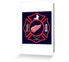 Detroit Fire - Red Wings style Greeting Card