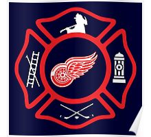 Detroit Fire - Red Wings style Poster