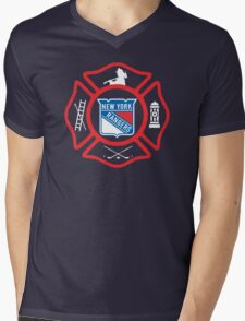 FDNY - Rangers style Mens V-Neck T-Shirt