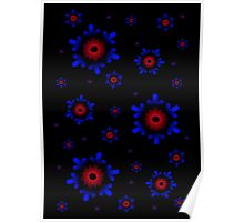 Red and Blue Snowflakes Poster