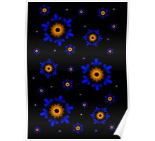Orange and Blue Snowflakes Poster