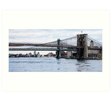 Brooklyn Bridge mixed media Art Print