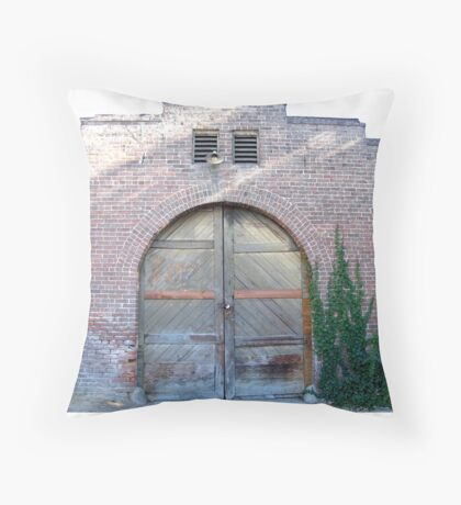 """Newpaper building for paper delivery boys"" Throw Pillow"