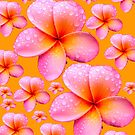 Frangipani Skirt Vivid Mango Background by Melissa Park