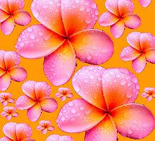 Frangipani Skirt Vivid Mango Background by Melissa Park