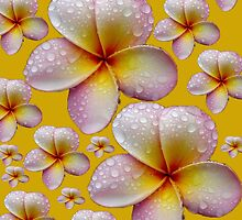 Soft Tropical Yellow and Pink Frangipani Skirt by Melissa Park