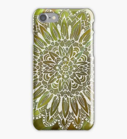 Mandala on the Green  Abstract background iPhone Case/Skin