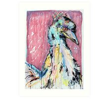 Emu with red Art Print