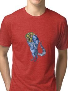 Cute funny raccoon with bouquet of flowers. Animal character. St. Valentine illustration. Tri-blend T-Shirt