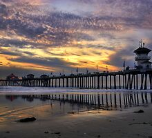 Huntington Beach Pier At Sunset by K D Graves Photography
