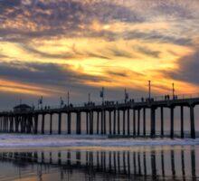 Huntington Beach Pier At Sunset Sticker