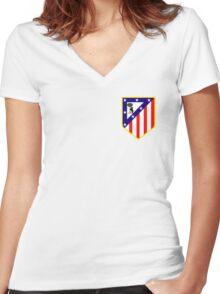 atletico madrid logo Women's Fitted V-Neck T-Shirt