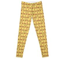 Red and yellow seamless background of funny caterpillars and flowers Leggings