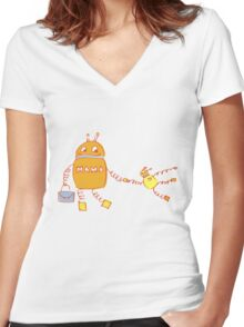 Robomama Robot Mother And Child Women's Fitted V-Neck T-Shirt