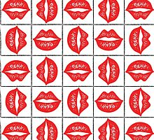 Red sketched lips. by Mashot