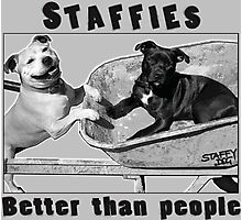 Staffies Better than people Photographic Print