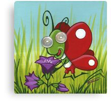 Fastidious butterfly - acrylic on canvas, pearl buttons Canvas Print