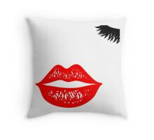 Red sketched lips and closed eye lashes. Throw Pillow