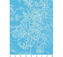 Jerusalem map blue Photographic Print