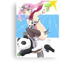 Pink Haired Anime Girl Riding Panda Canvas Print