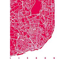 Lisbon map raspberry Photographic Print