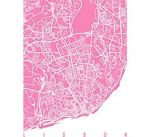 Lisbon map pink Photographic Print