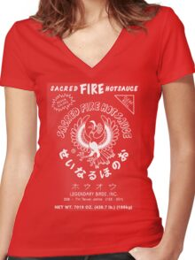 Sacred Fire Hot Sauce Sriracha Women's Fitted V-Neck T-Shirt