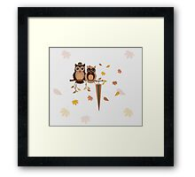Cute owls (Autumn)  Framed Print