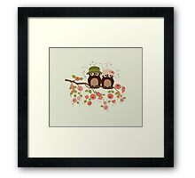 Cute owls (Spring)  Framed Print