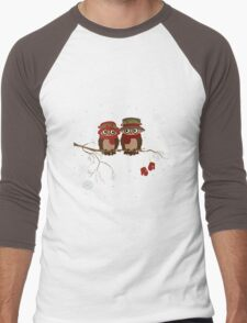 Cute owls (Winter) Men's Baseball ¾ T-Shirt
