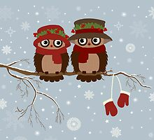 Cute owls (Winter) by tosnos