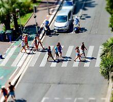 Pedestrian zebra across the street. Tilt shift view. Nice, France by Alexander Sorokopud