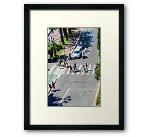 Pedestrian zebra across the street. Tilt shift view. Nice, France Framed Print