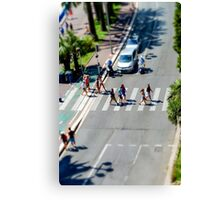 Pedestrian zebra across the street. Tilt shift view. Nice, France Canvas Print