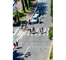 Pedestrian zebra across the street. Tilt shift view. Nice, France Photographic Print