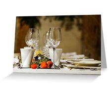 Wineglasses ready for the dinner in little restaurant, France Greeting Card