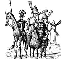 Don Quixote and Sancho Panza ink drawing by Vitaliy Gonikman