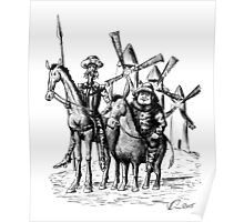 Don Quixote and Sancho Panza ink drawing Poster