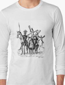 Don Quixote and Sancho Panza ink drawing Long Sleeve T-Shirt