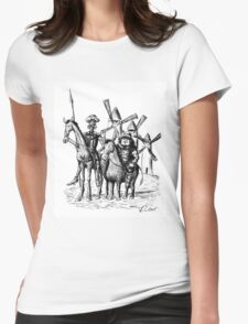 Don Quixote and Sancho Panza ink drawing Womens Fitted T-Shirt