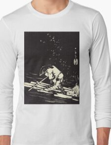 Flower Petals Sprinkling A Raft - Hiroshige Ando - 1848 - woodcut Long Sleeve T-Shirt