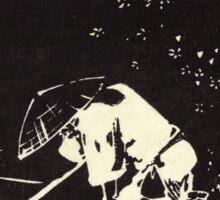 Flower Petals Sprinkling A Raft - Hiroshige Ando - 1848 - woodcut Sticker